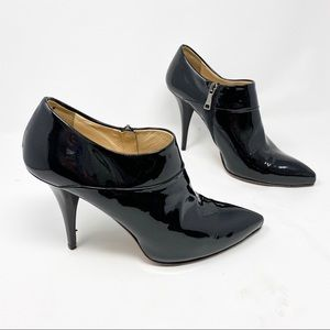 Prada   Black Shiny Heeled Ankle Booties